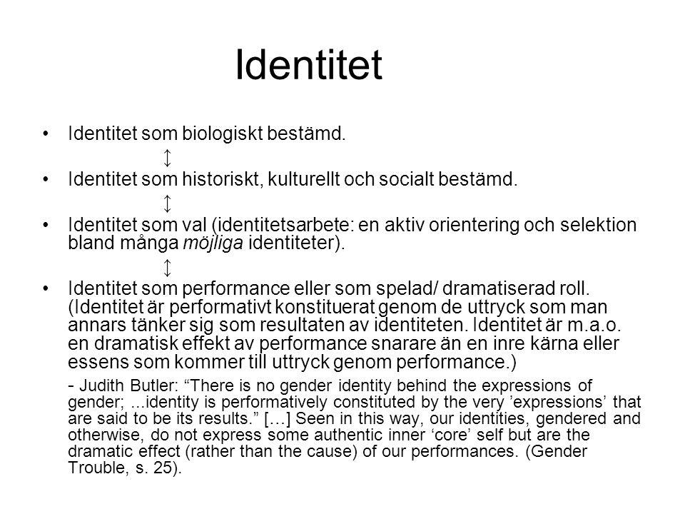 Identitet Identitet som biologiskt bestämd. ↨