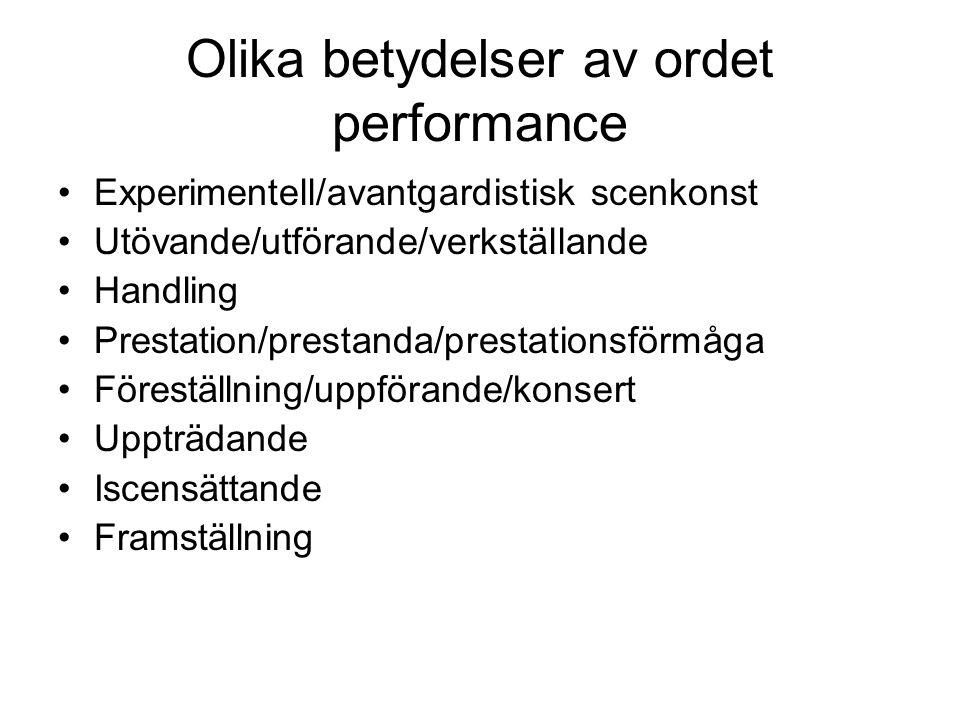 Olika betydelser av ordet performance