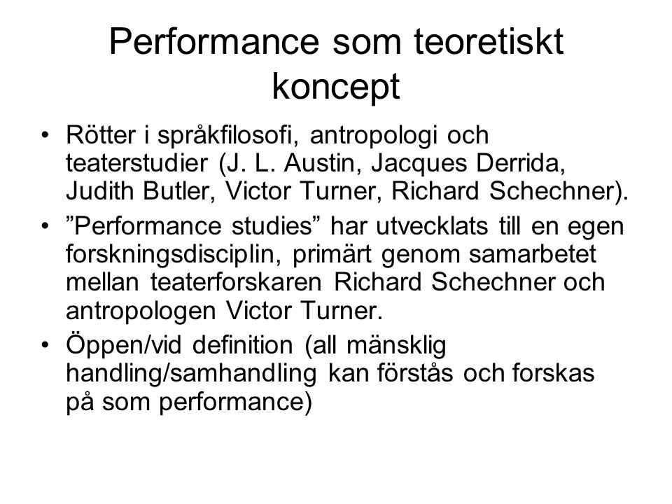 Performance som teoretiskt koncept