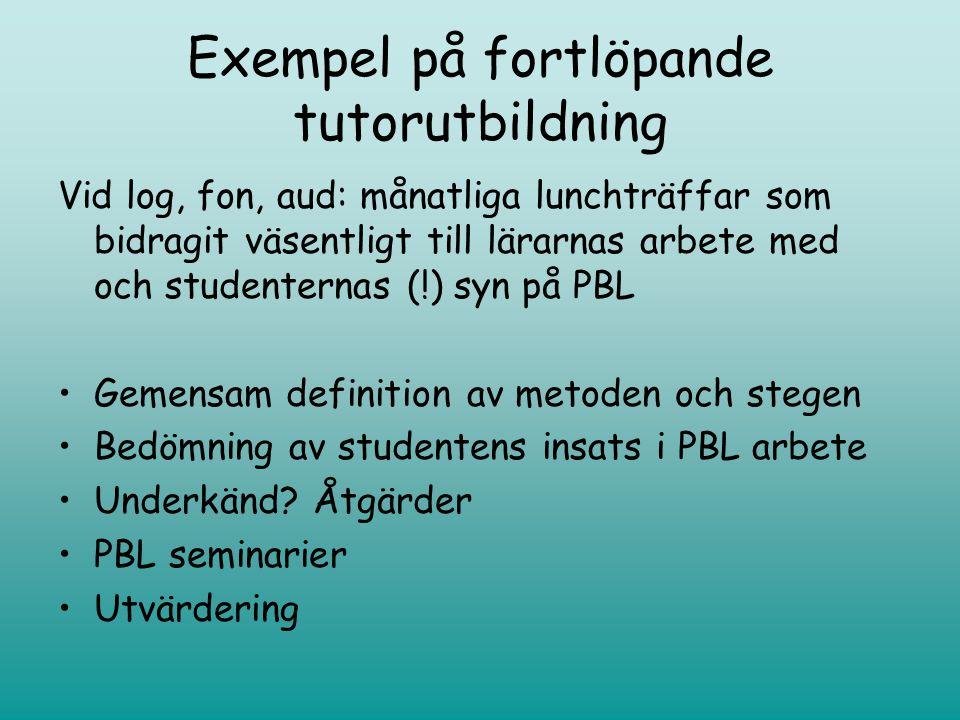 Exempel på fortlöpande tutorutbildning