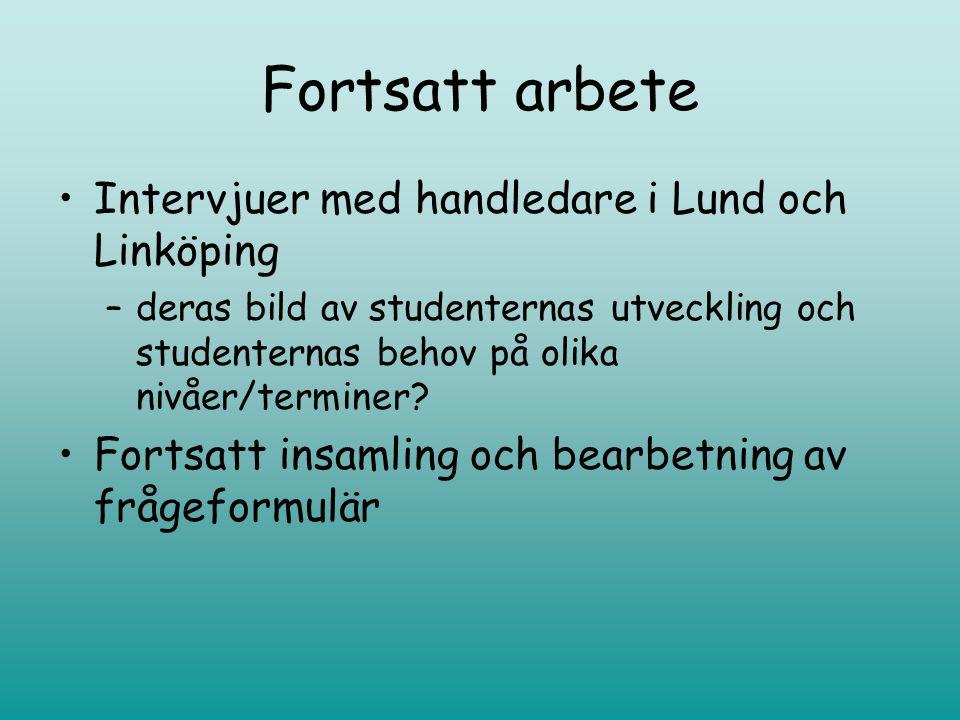 Fortsatt arbete Intervjuer med handledare i Lund och Linköping