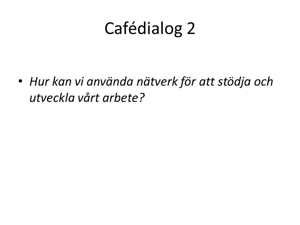 Cafédialog 2 Hur kan vi använda nätverk för att stödja och utveckla vårt arbete