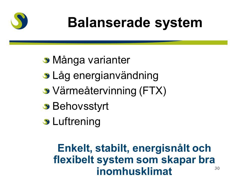 Balanserade system Många varianter Låg energianvändning