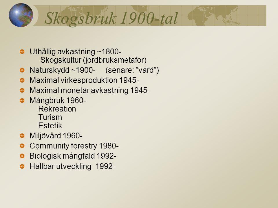Skogsbruk 1900-tal Uthållig avkastning ~1800- Skogskultur (jordbruksmetafor) Naturskydd ~1900- (senare: vård )