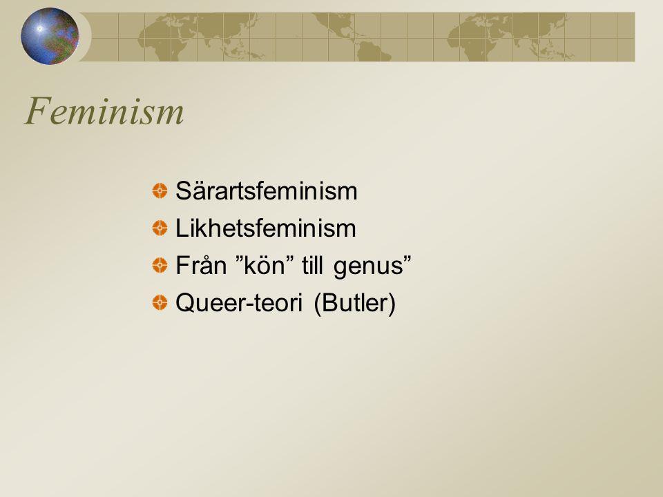 Feminism Särartsfeminism Likhetsfeminism Från kön till genus