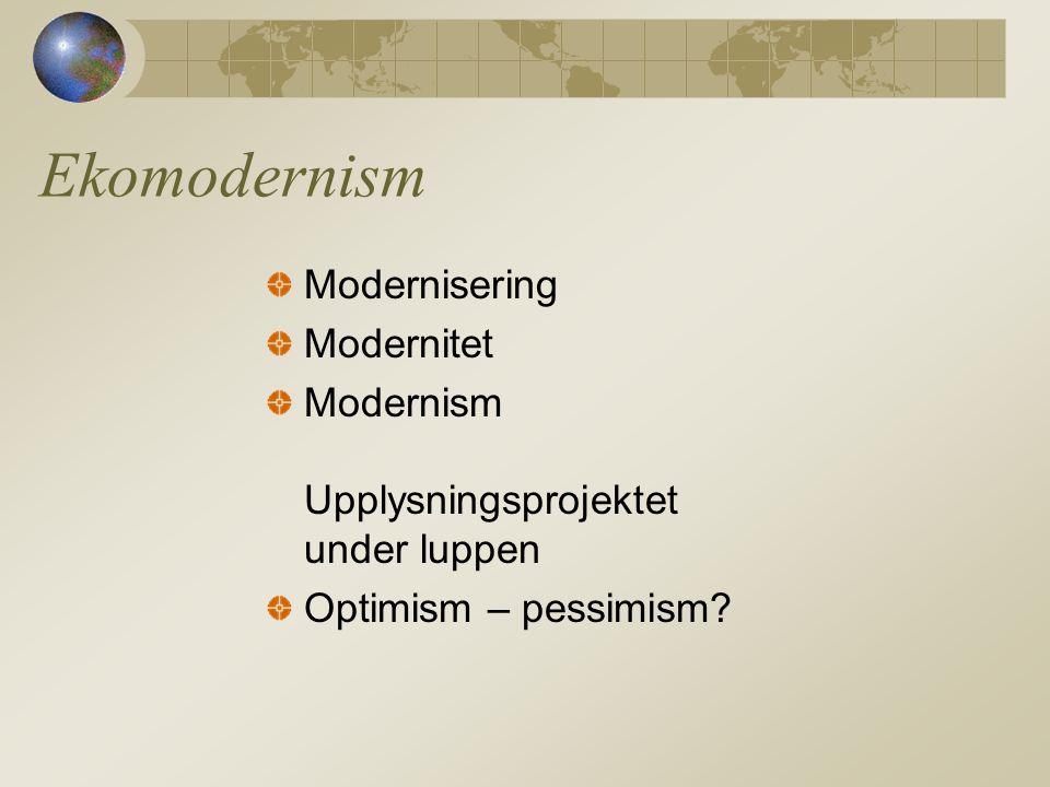 Ekomodernism Modernisering Modernitet