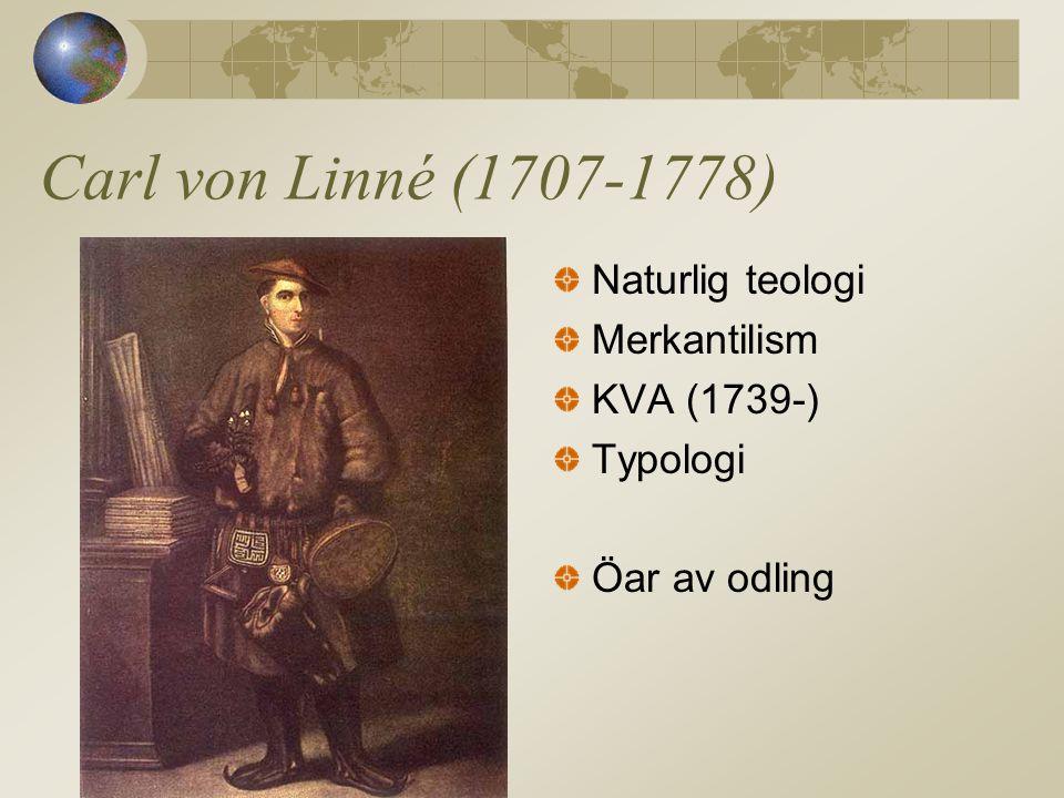Carl von Linné (1707-1778) Naturlig teologi Merkantilism KVA (1739-)