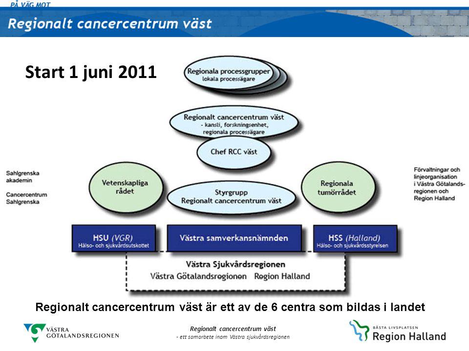 Start 1 juni 2011 Regionalt cancercentrum väst är ett av de 6 centra som bildas i landet