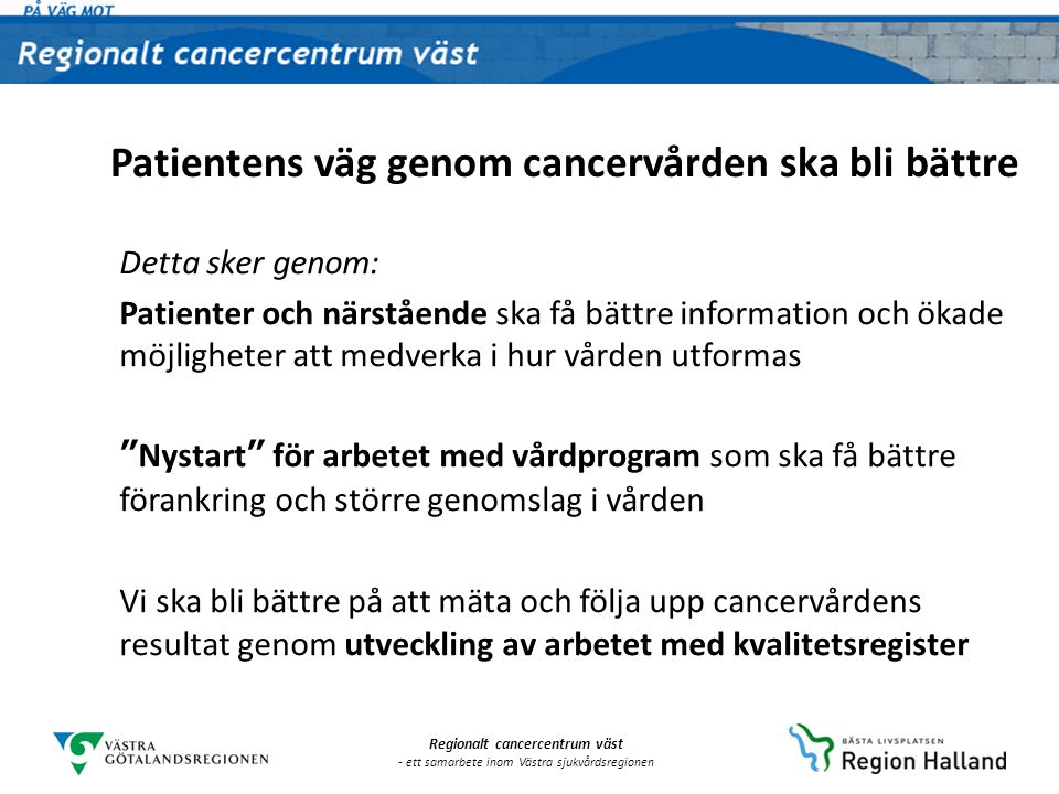 Patientens väg genom cancervården ska bli bättre