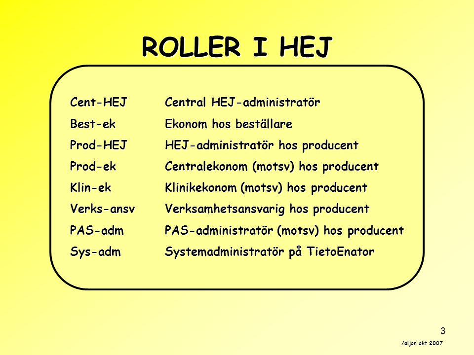 ROLLER I HEJ Cent-HEJ Central HEJ-administratör