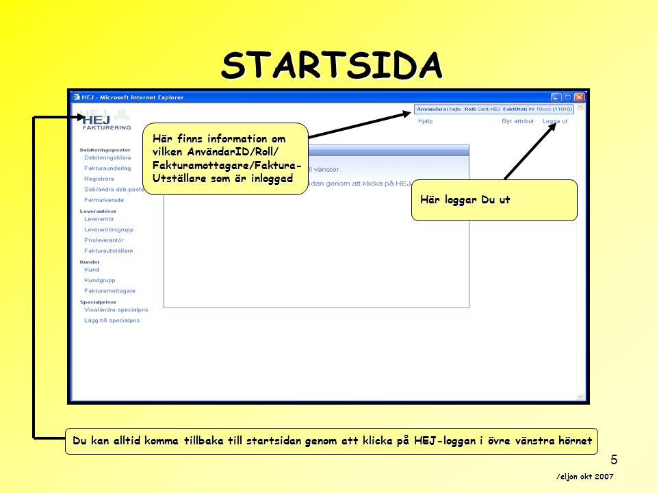 STARTSIDA Här finns information om vilken AnvändarID/Roll/