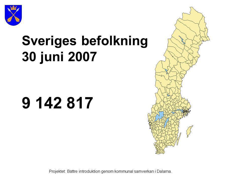 9 142 817 Sveriges befolkning 30 juni 2007