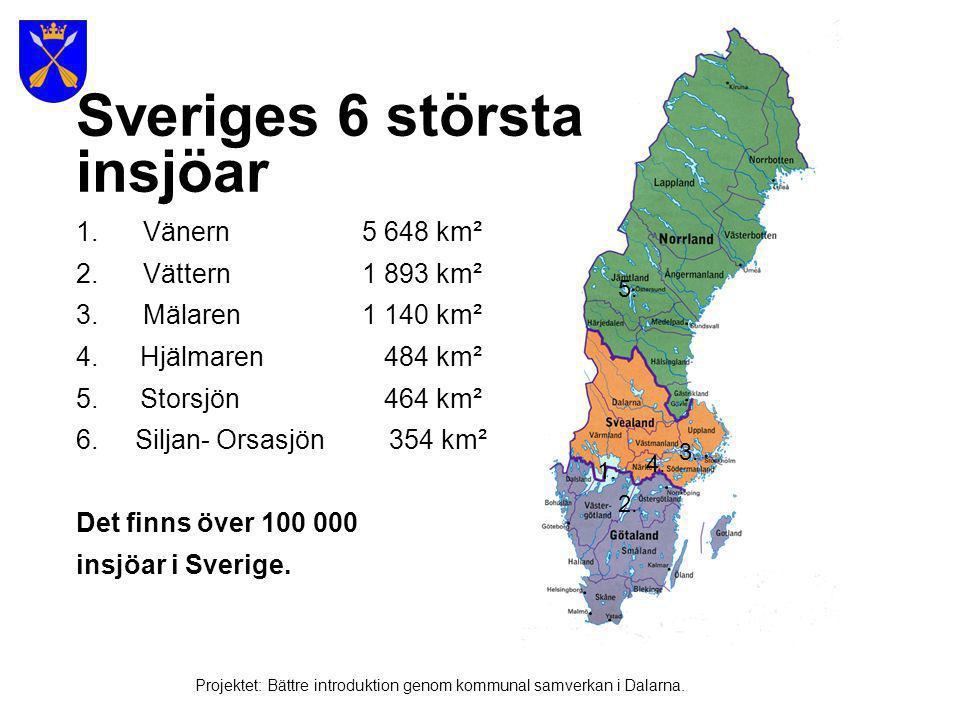 Sveriges 6 största insjöar 1. Vänern 5 648 km² 2. Vättern 1 893 km²