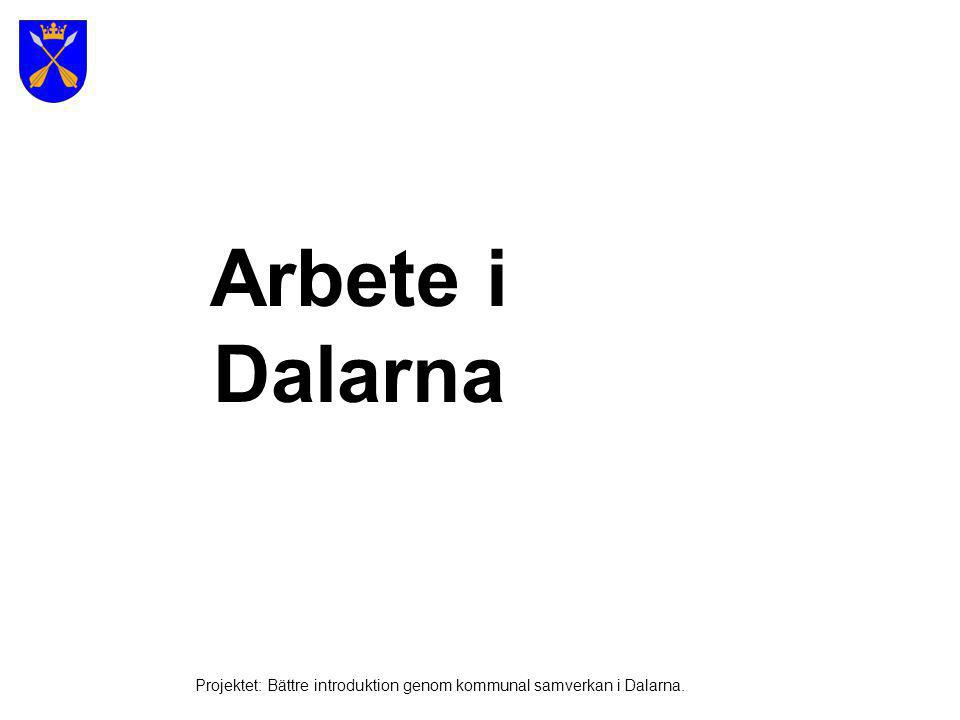 Arbete i Dalarna Projektet: Bättre introduktion genom kommunal samverkan i Dalarna.