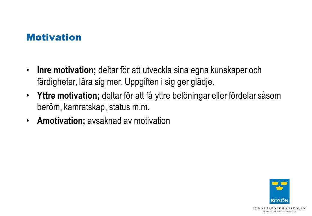 Motivation Inre motivation; deltar för att utveckla sina egna kunskaper och färdigheter, lära sig mer. Uppgiften i sig ger glädje.