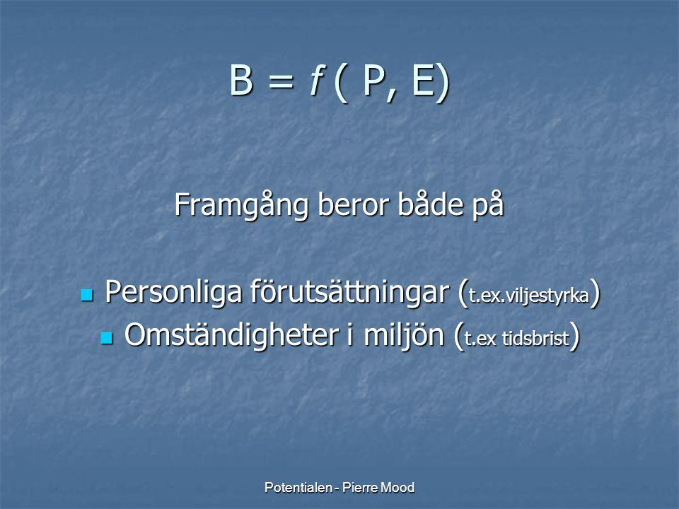 B = f ( P, E) Framgång beror både på