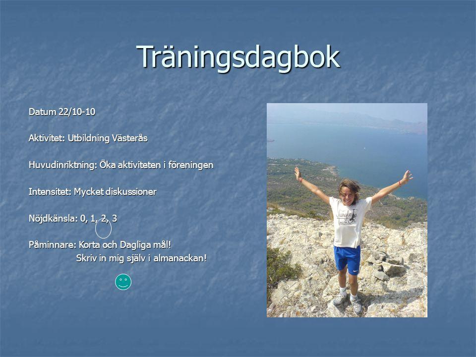 Träningsdagbok Datum 22/10-10 Aktivitet: Utbildning Västerås