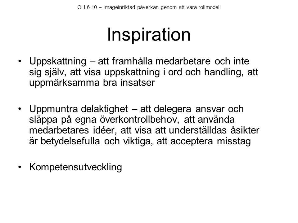 OH 6.10 – Imageinriktad påverkan genom att vara rollmodell Inspiration
