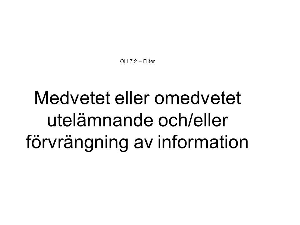 OH 7.2 – Filter Medvetet eller omedvetet utelämnande och/eller förvrängning av information