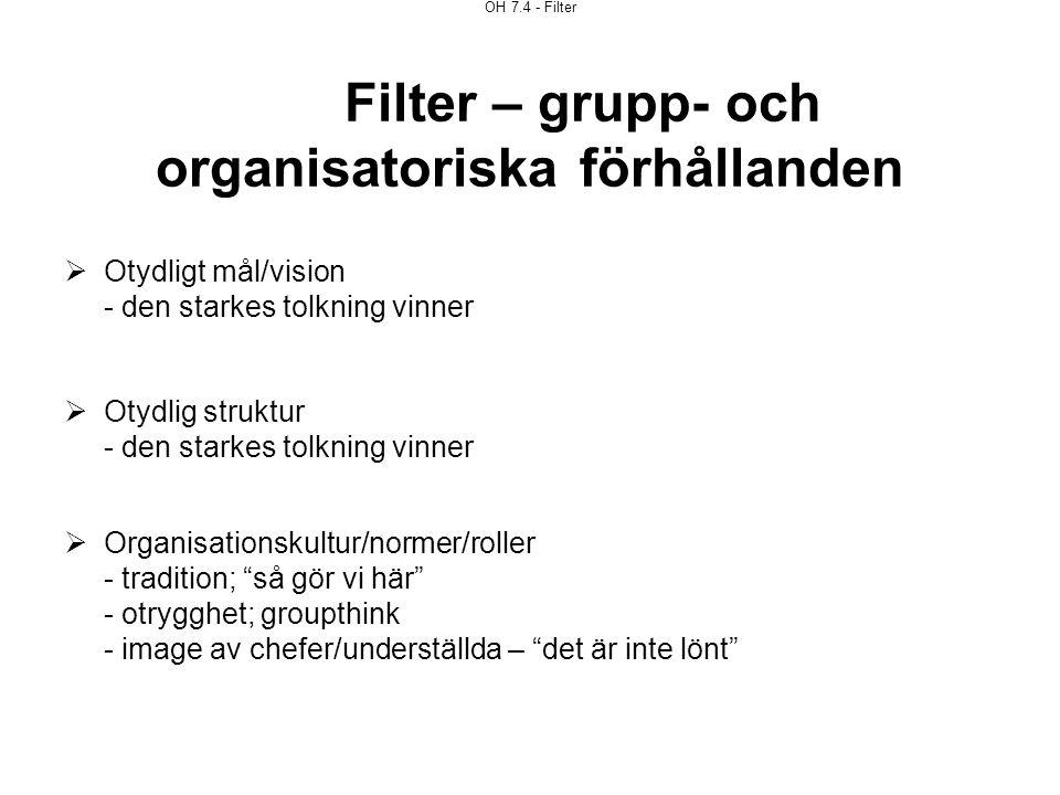 OH 7.4 - Filter Filter – grupp- och organisatoriska förhållanden