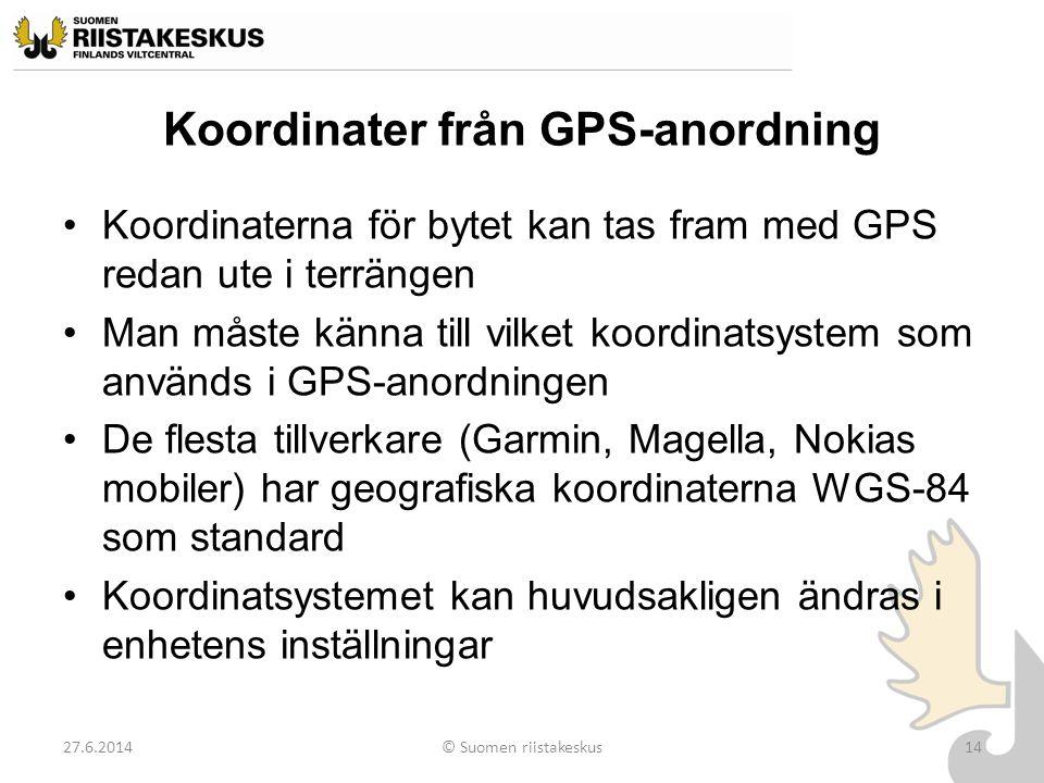 Koordinater från GPS-anordning