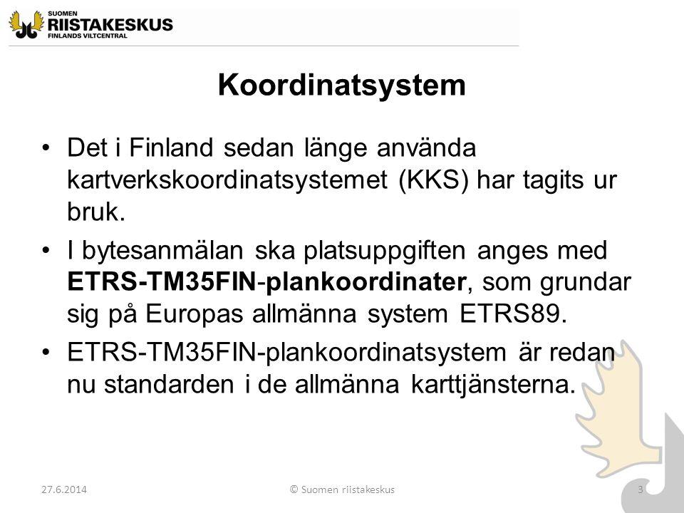 Koordinatsystem Det i Finland sedan länge använda kartverkskoordinatsystemet (KKS) har tagits ur bruk.