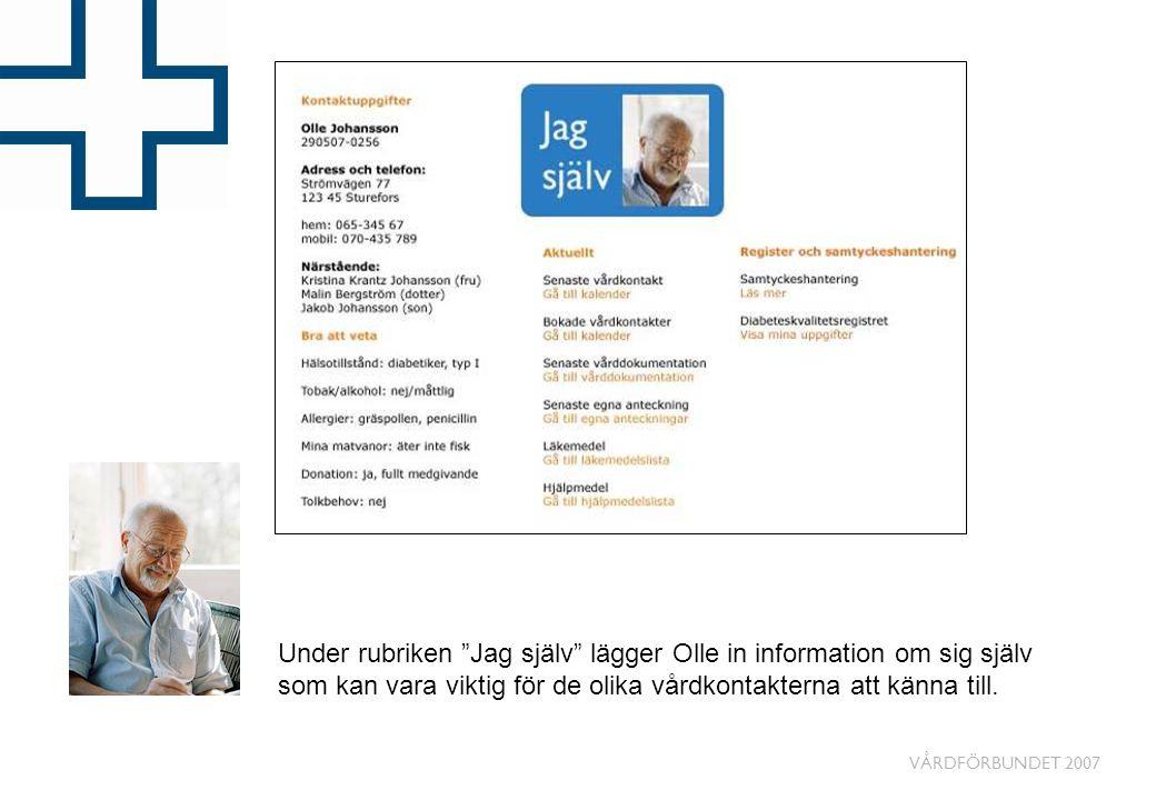 Under rubriken Jag själv lägger Olle in information om sig själv som kan vara viktig för de olika vårdkontakterna att känna till.