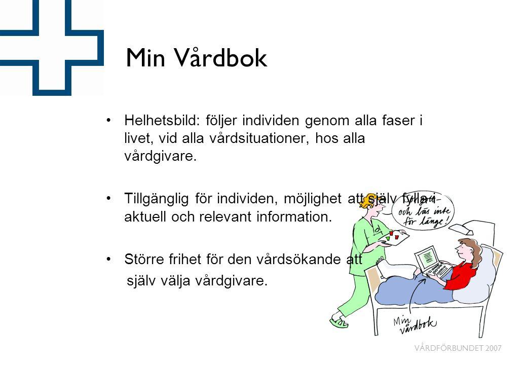 Min Vårdbok Helhetsbild: följer individen genom alla faser i livet, vid alla vårdsituationer, hos alla vårdgivare.