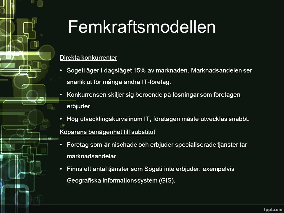 Femkraftsmodellen Direkta konkurrenter