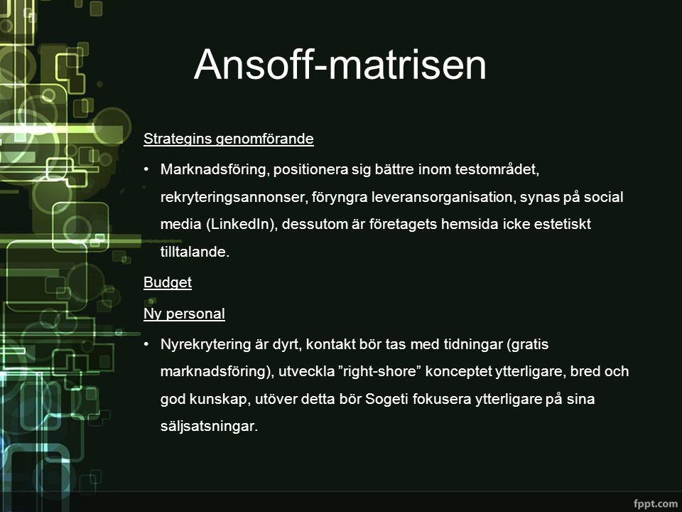 Ansoff-matrisen Strategins genomförande