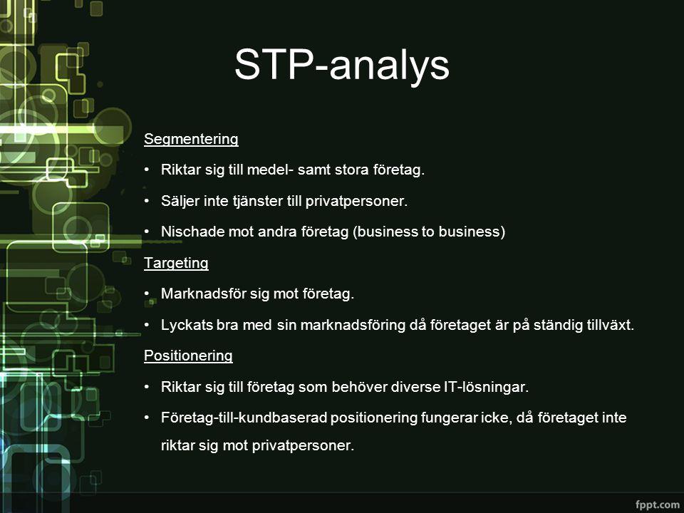 STP-analys Segmentering Riktar sig till medel- samt stora företag.