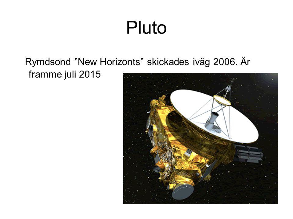 Pluto Rymdsond New Horizonts skickades iväg 2006. Är framme juli 2015