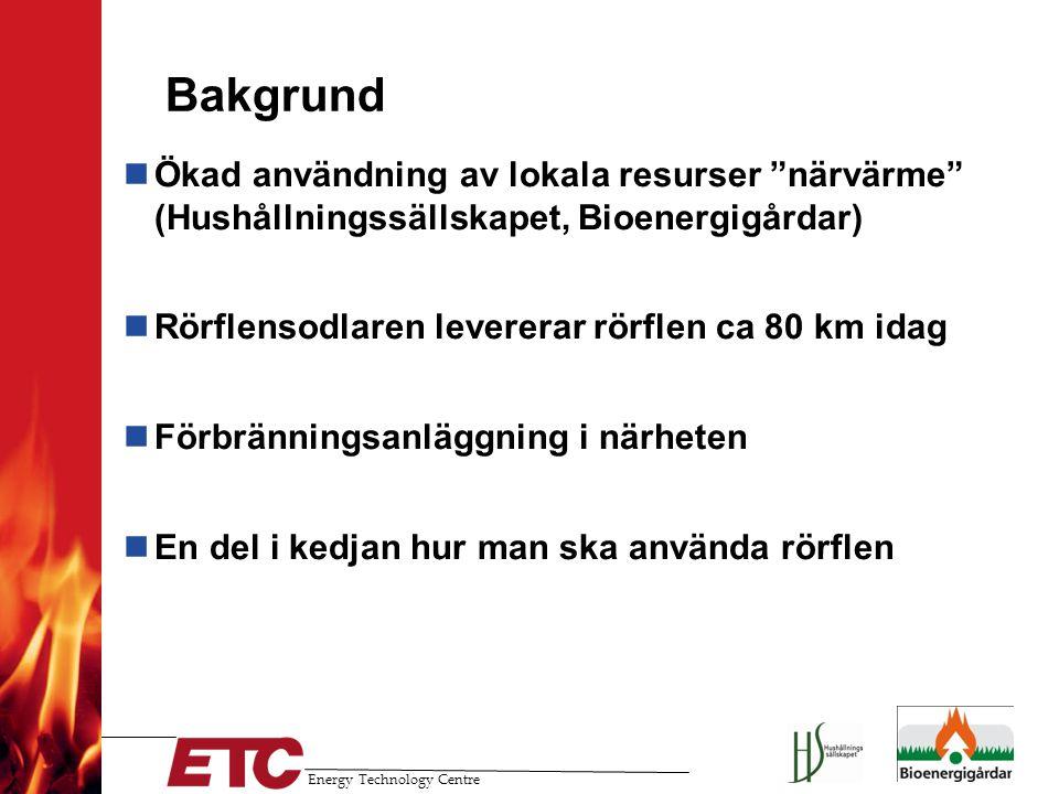 Bakgrund Ökad användning av lokala resurser närvärme (Hushållningssällskapet, Bioenergigårdar) Rörflensodlaren levererar rörflen ca 80 km idag.