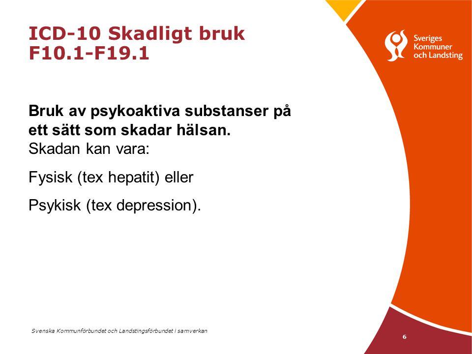ICD-10 Skadligt bruk F10.1-F19.1 Bruk av psykoaktiva substanser på ett sätt som skadar hälsan. Skadan kan vara: