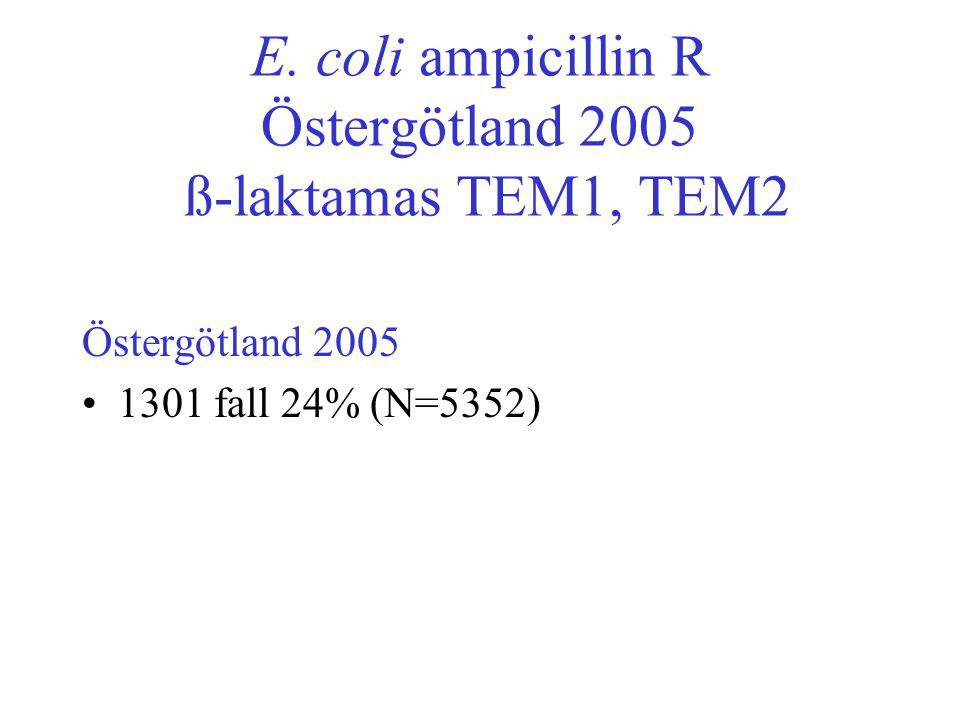 E. coli ampicillin R Östergötland 2005 ß-laktamas TEM1, TEM2