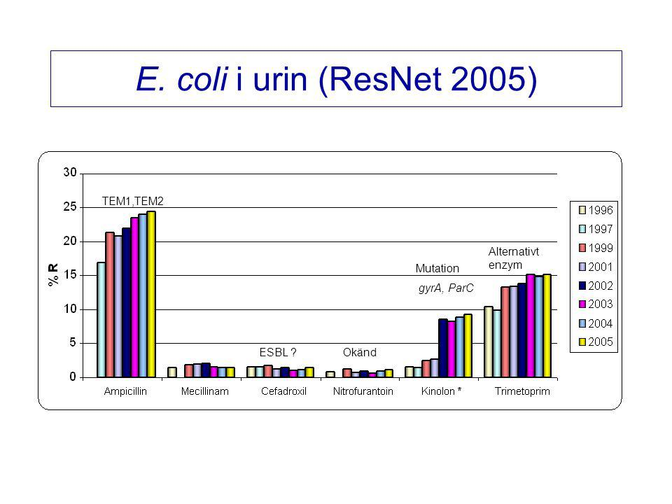 E. coli i urin (ResNet 2005) TEM1,TEM2 Alternativt enzym Mutation