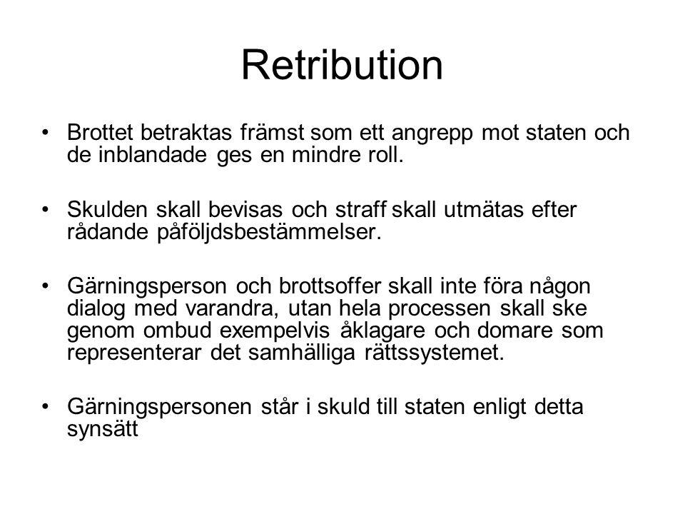 Retribution Brottet betraktas främst som ett angrepp mot staten och de inblandade ges en mindre roll.