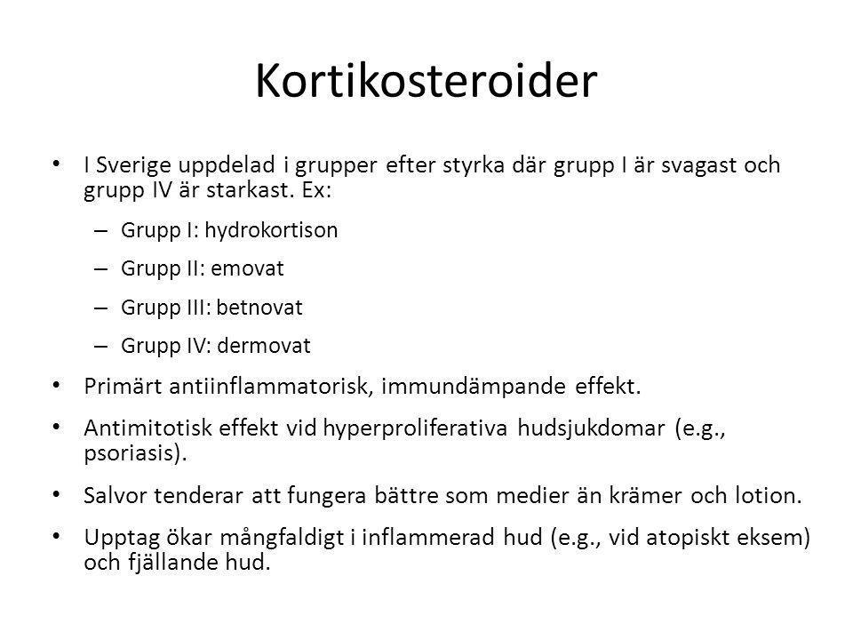Kortikosteroider I Sverige uppdelad i grupper efter styrka där grupp I är svagast och grupp IV är starkast. Ex: