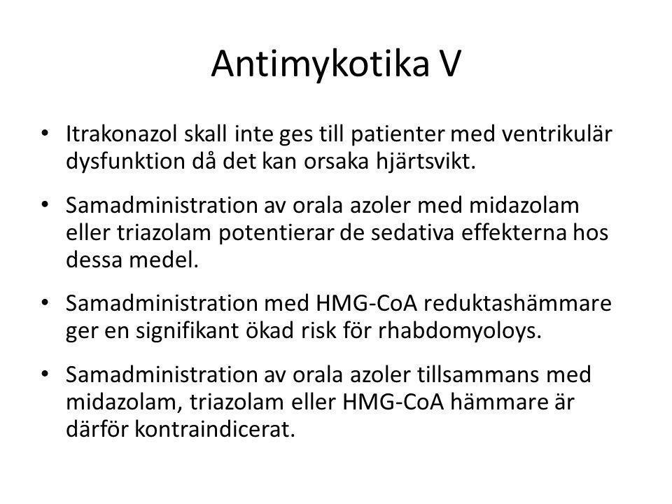 Antimykotika V Itrakonazol skall inte ges till patienter med ventrikulär dysfunktion då det kan orsaka hjärtsvikt.