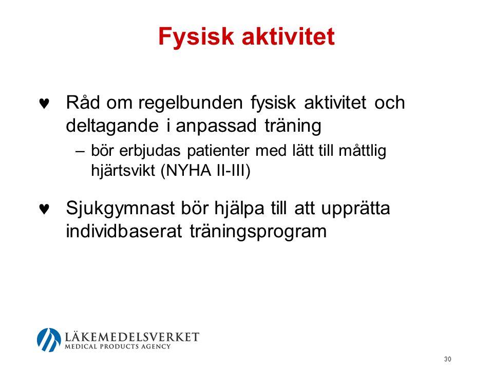 Fysisk aktivitet Råd om regelbunden fysisk aktivitet och deltagande i anpassad träning.
