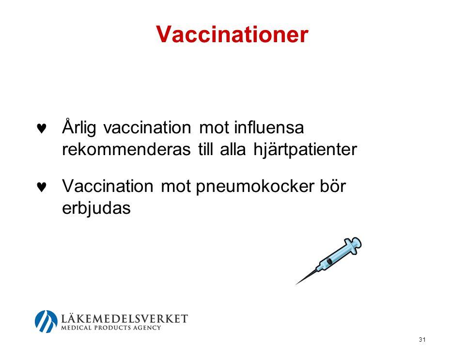 Vaccinationer Årlig vaccination mot influensa rekommenderas till alla hjärtpatienter.