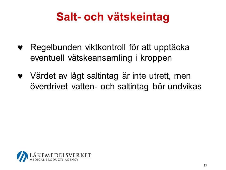 Salt- och vätskeintag Regelbunden viktkontroll för att upptäcka eventuell vätskeansamling i kroppen.