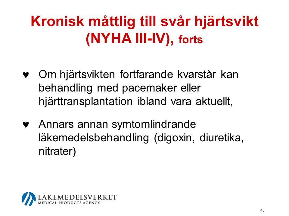 Kronisk måttlig till svår hjärtsvikt (NYHA III-IV), forts