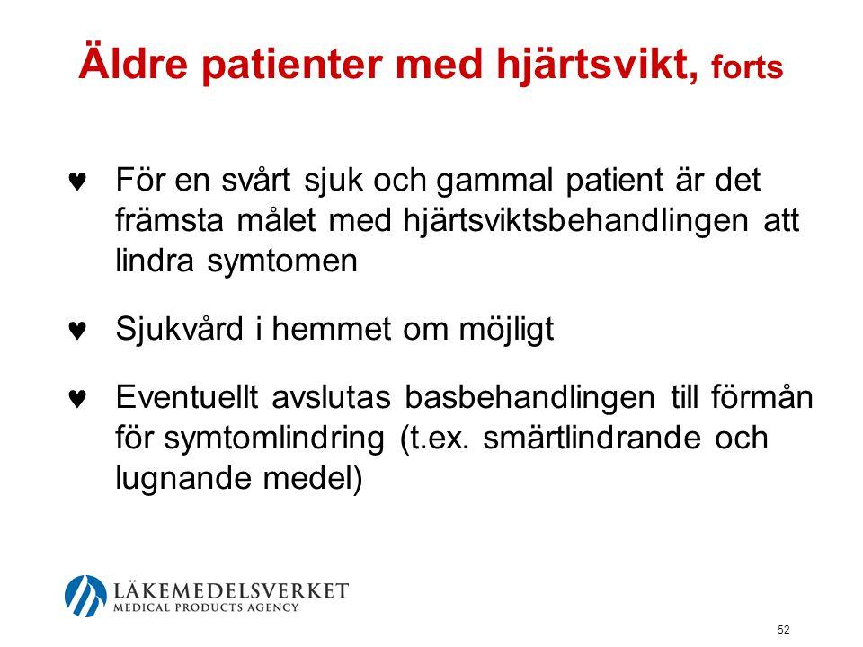 Äldre patienter med hjärtsvikt, forts