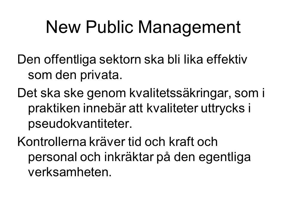 New Public Management Den offentliga sektorn ska bli lika effektiv som den privata.