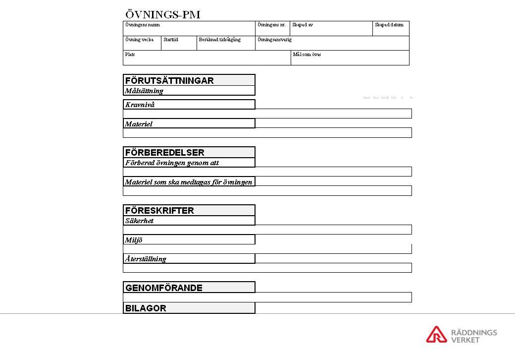Information till övningsledning Information till övningsledning