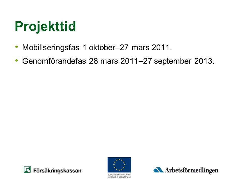 Projekttid Mobiliseringsfas 1 oktober–27 mars 2011.
