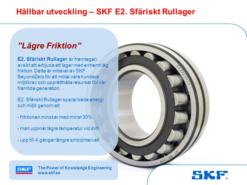 Hållbar utveckling – SKF E2. Sfäriskt Rullager