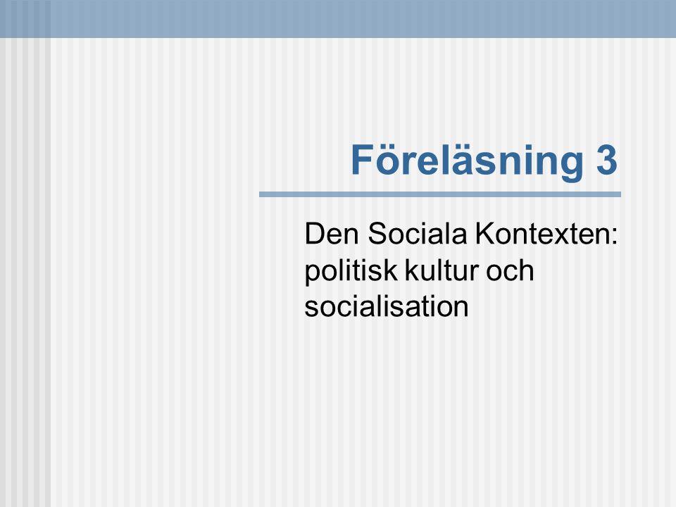 Den Sociala Kontexten: politisk kultur och socialisation