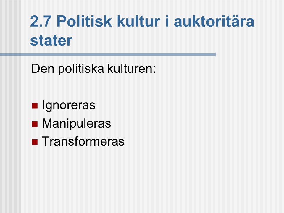 2.7 Politisk kultur i auktoritära stater